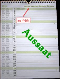 Aussaat Kalender - Aussaat nie vor Januar starten